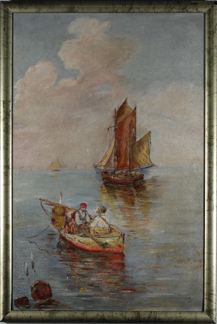 European School, Coastal Scene w/ Sailboats