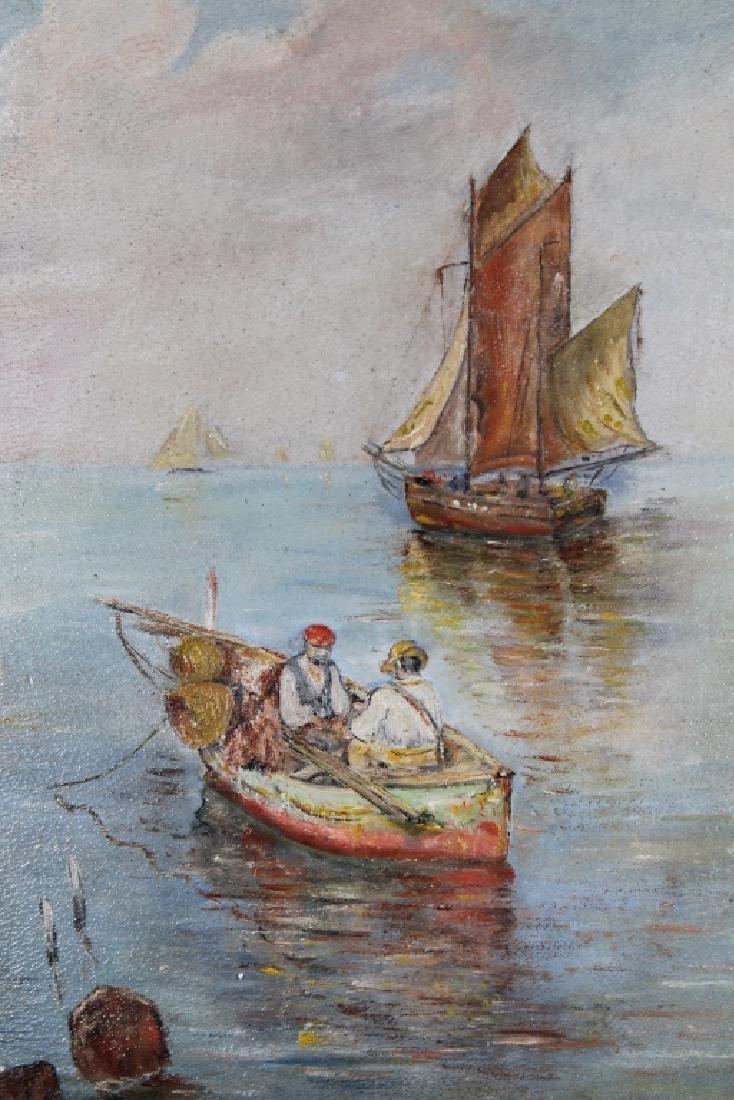 European School, Coastal Scene w/ Sailboats - 2