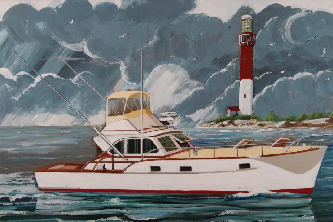 Huntington, Illustration of a Boat near Lighthouse - 2