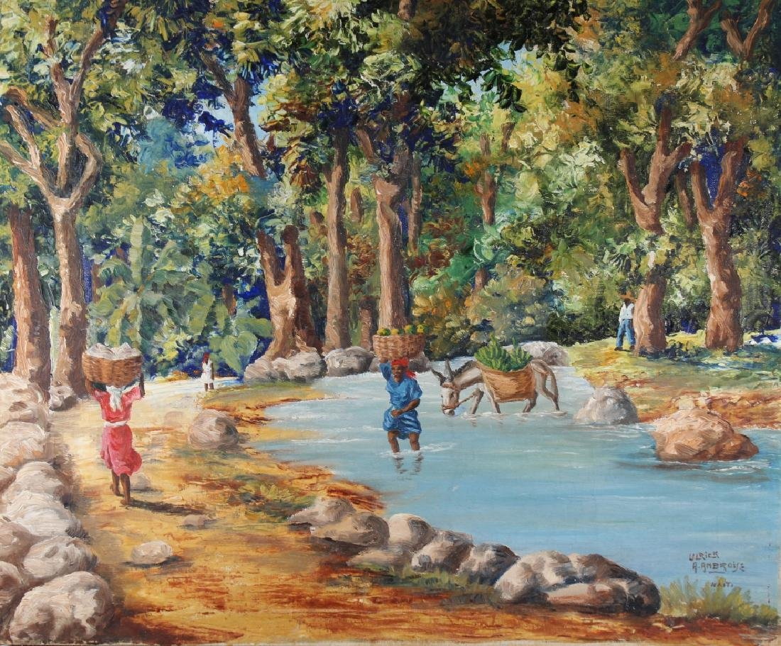 Ambroise, Painting of Haitian River with Figures