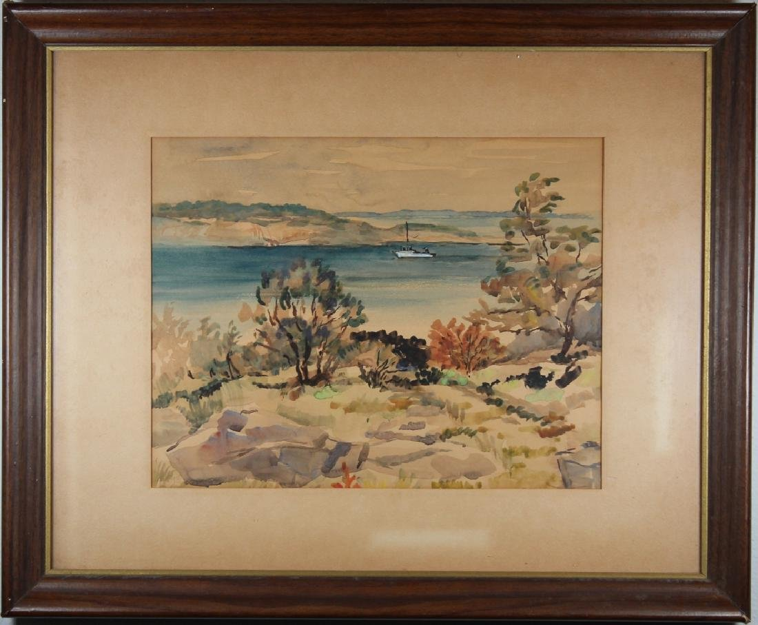 Signed, New England Coastal Scene w/ Boat