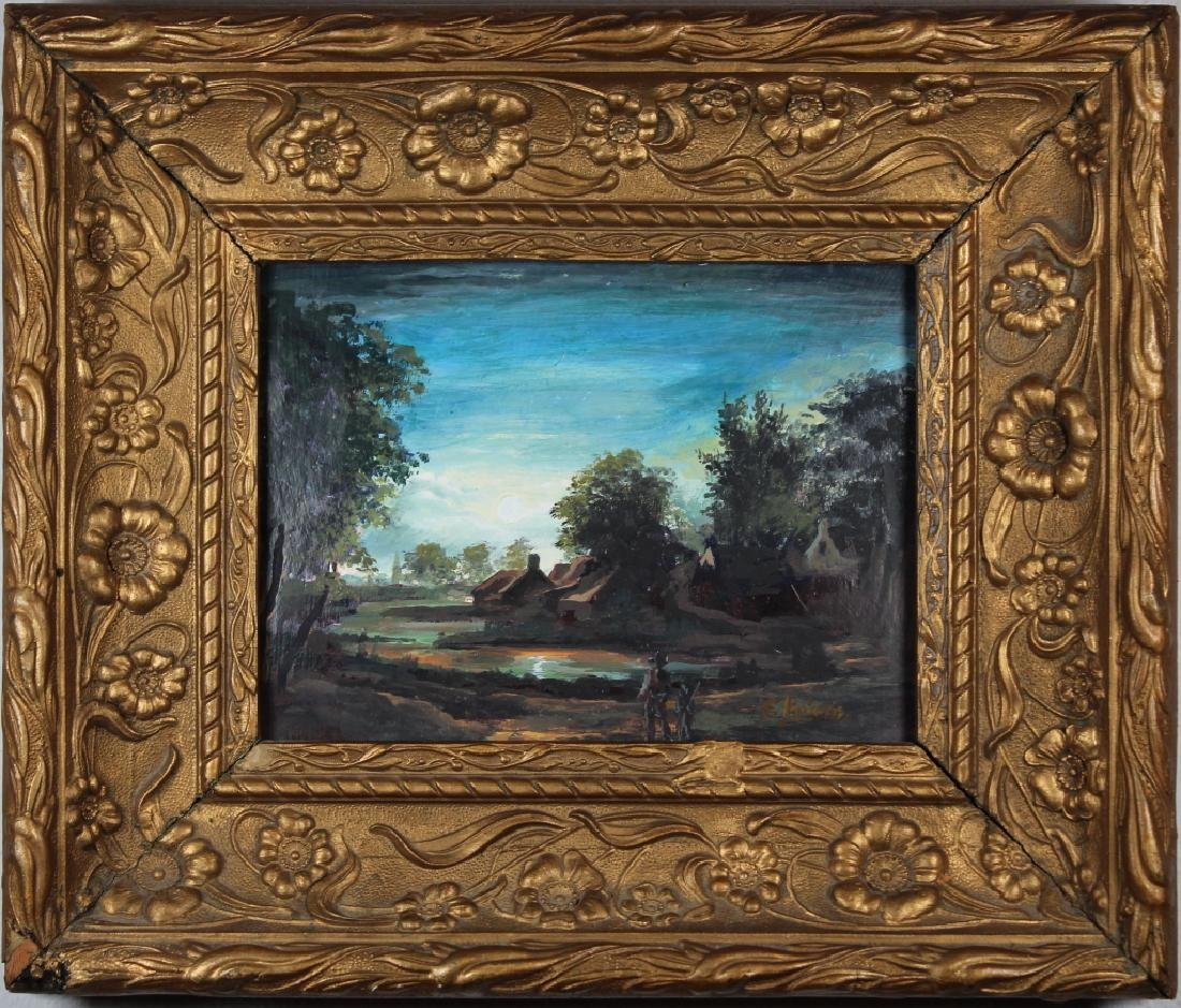 Antique Painting of Village at Dusk, Signed