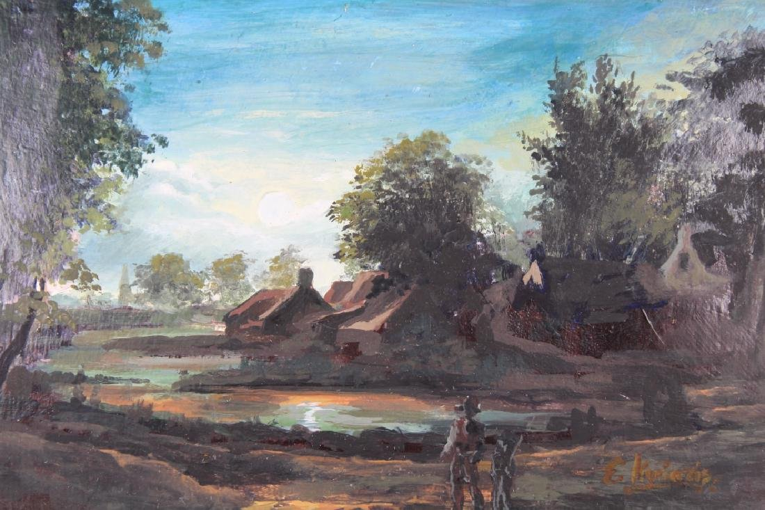Antique Painting of Village at Dusk, Signed - 2