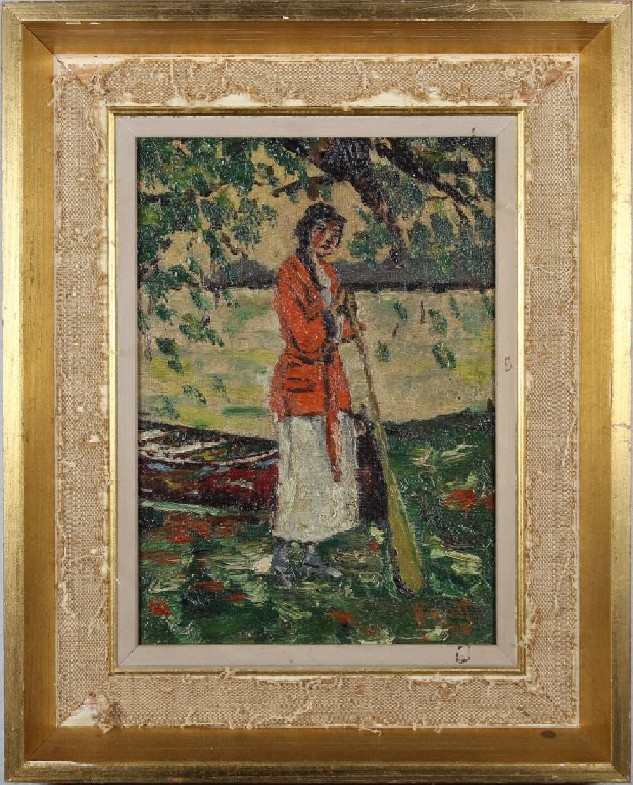 Impressionist Painting of Woman Near River, Signed