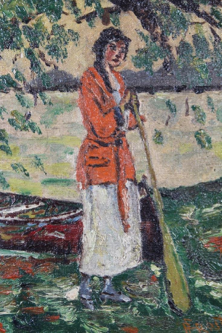 Impressionist Painting of Woman Near River, Signed - 2