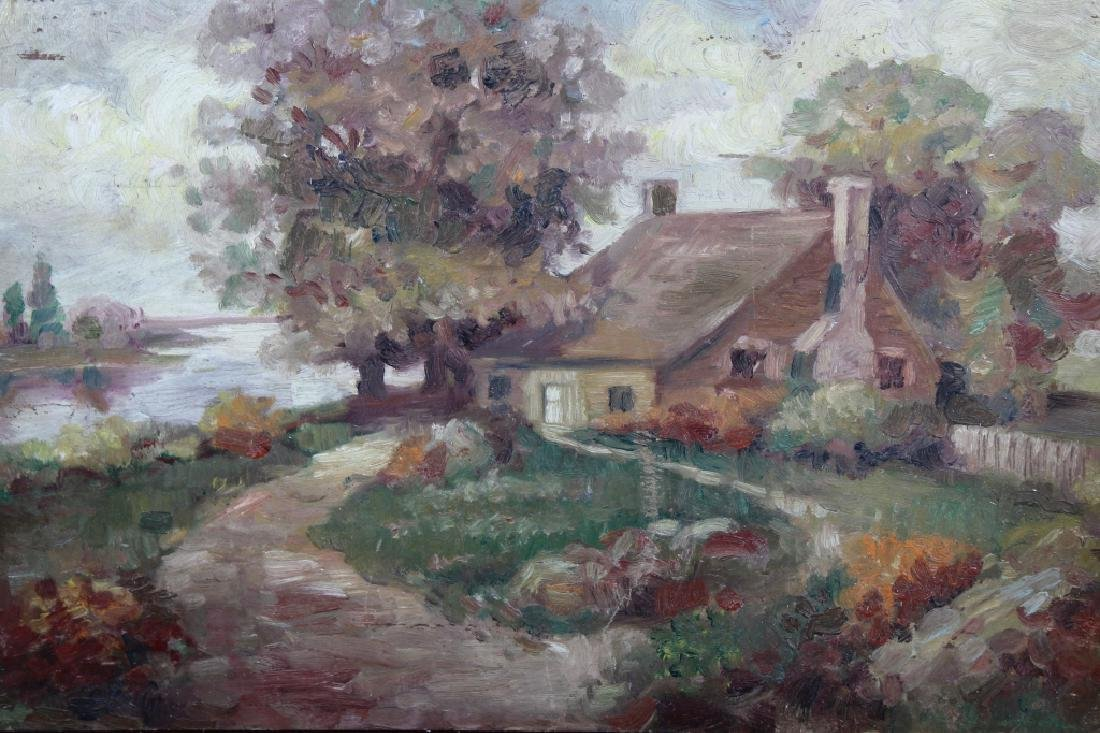 American School, Impressionist Ptg of River House