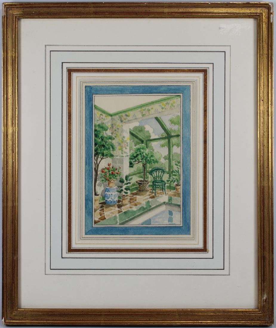 American School, Watercolor of a Patio Setting