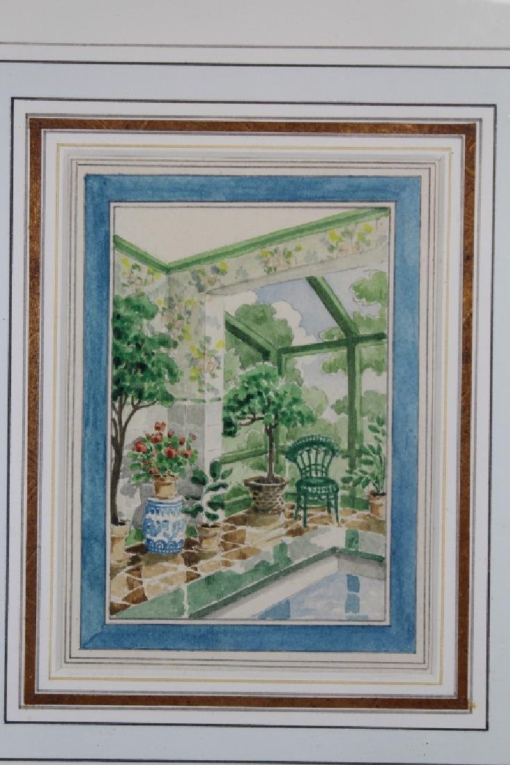 American School, Watercolor of a Patio Setting - 2