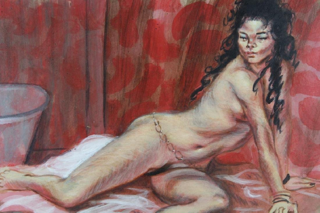 Signed Vintage Reclining Nude Woman - 2