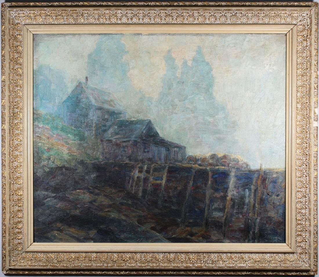 Early 20th C Impressionist Painting of House, Sgnd
