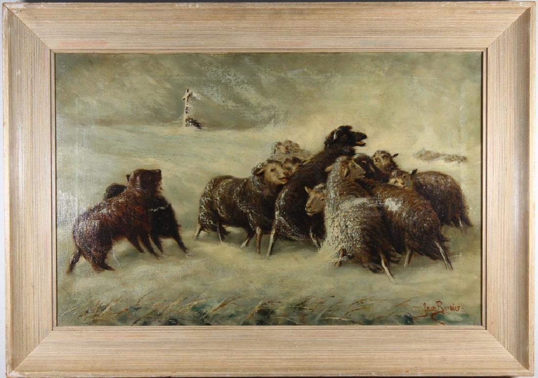 Antique French Winter Landscape w/ Sheep, Signed