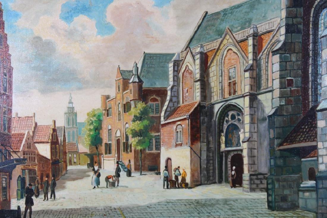 20th C. Dutch Village Scene, Signed - 2