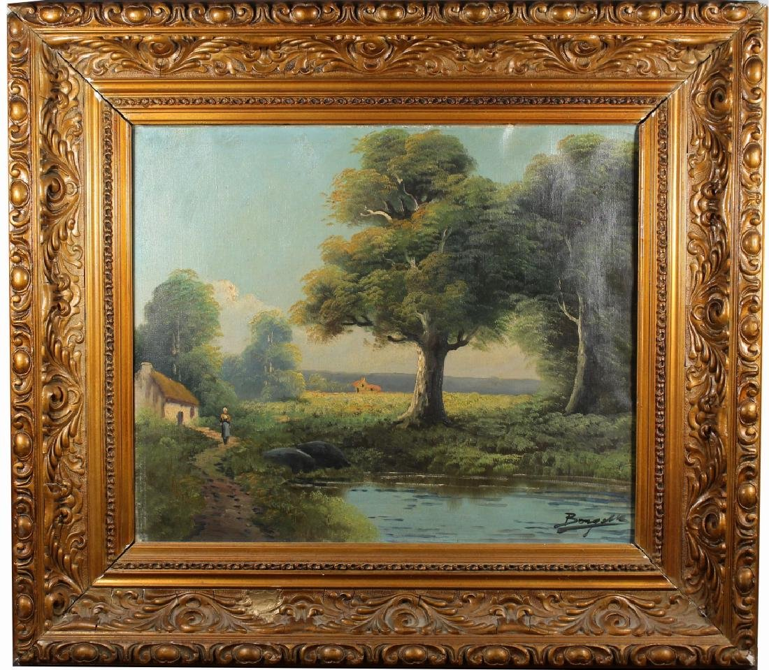 Signed, 20th C. Painting of Woman Near a River