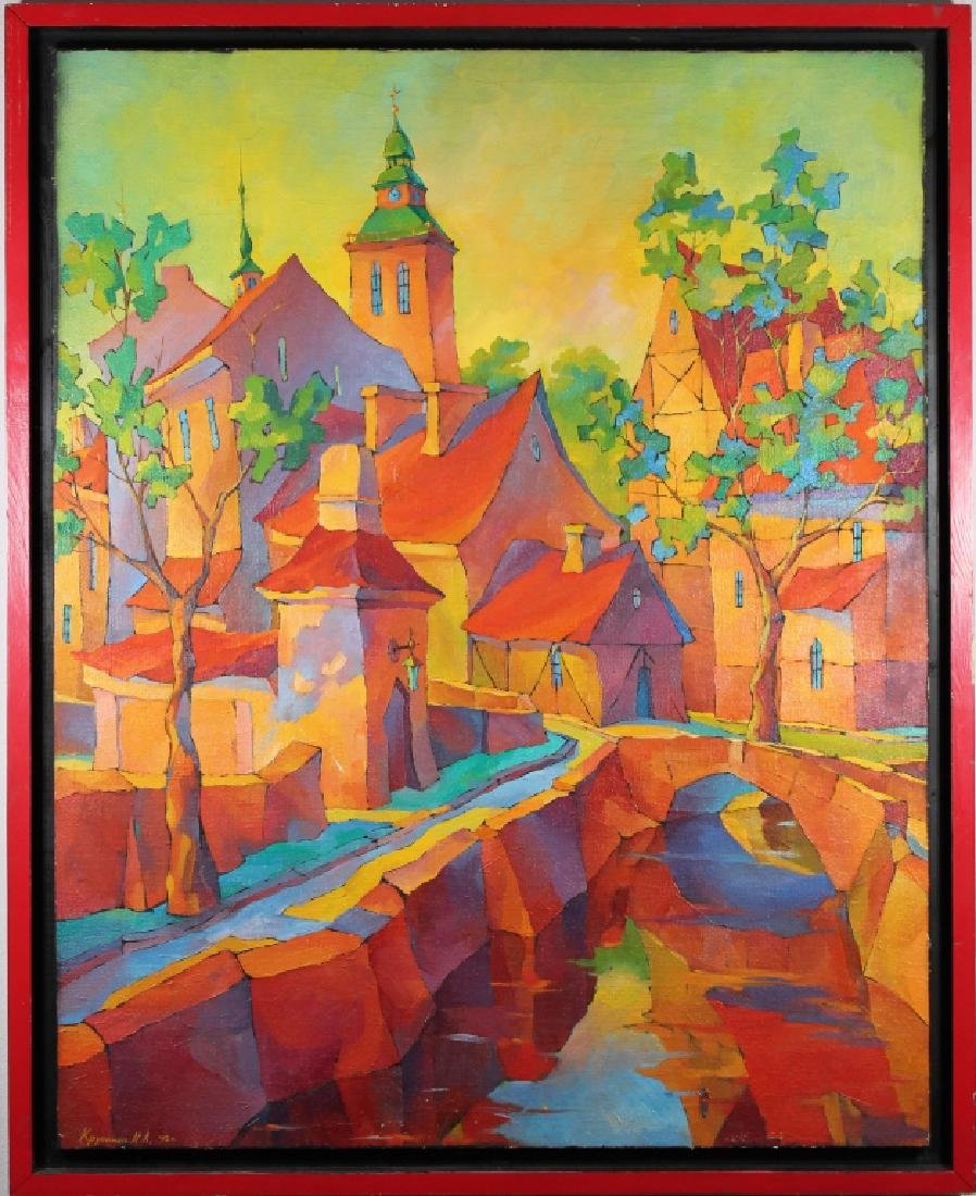 Russian School, '93 Painting of a Colorful Village