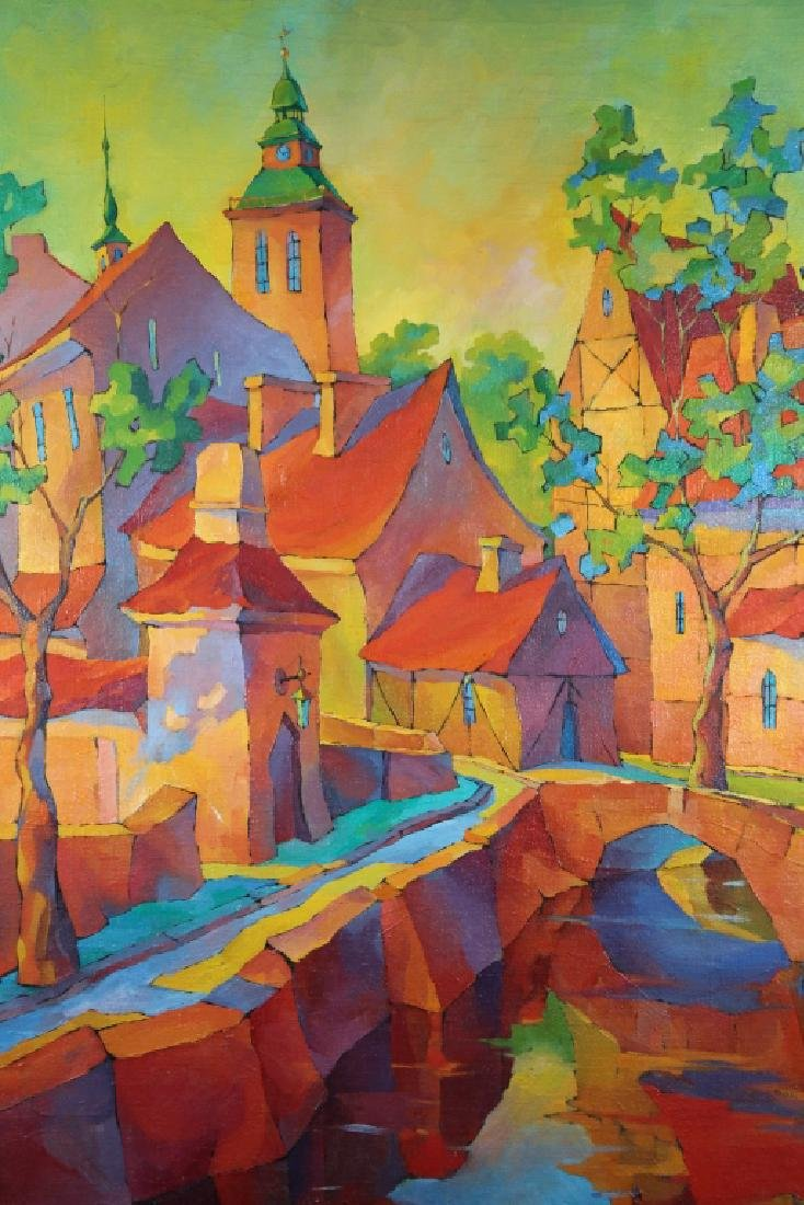 Russian School, '93 Painting of a Colorful Village - 2
