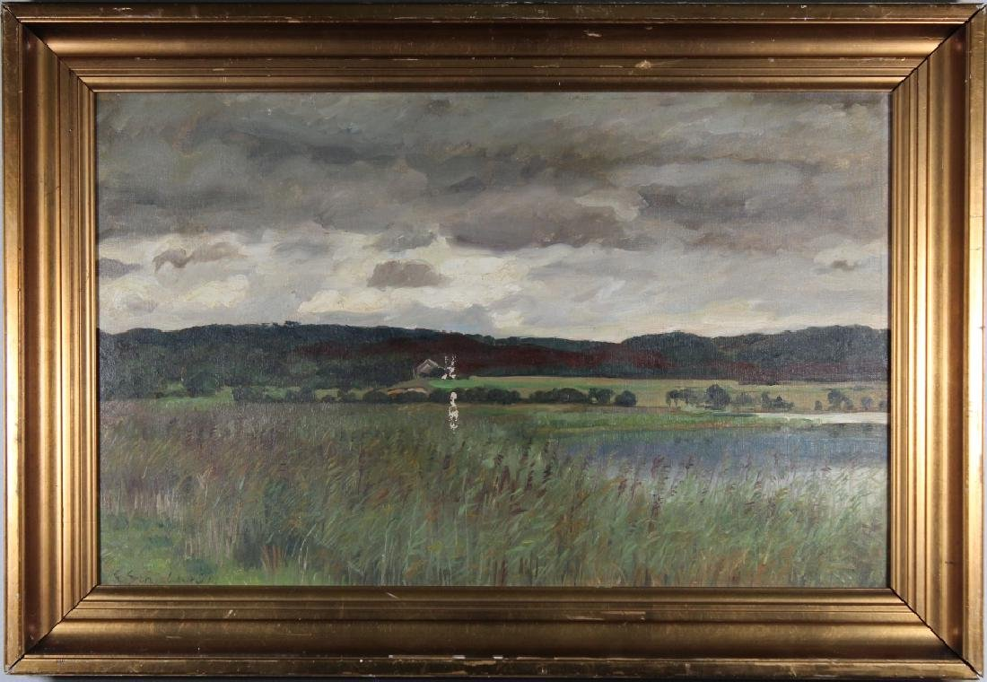 Signed, 20th c. River Landscape w/ House