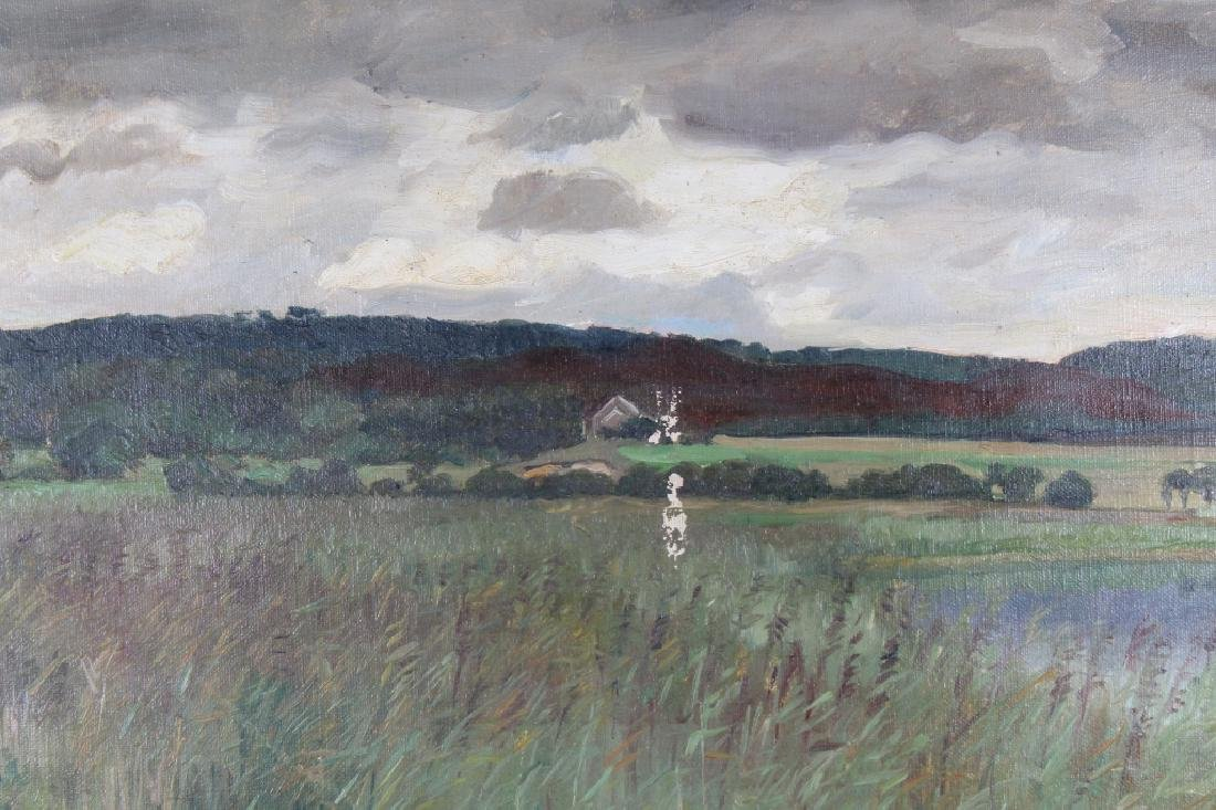 Signed, 20th c. River Landscape w/ House - 2