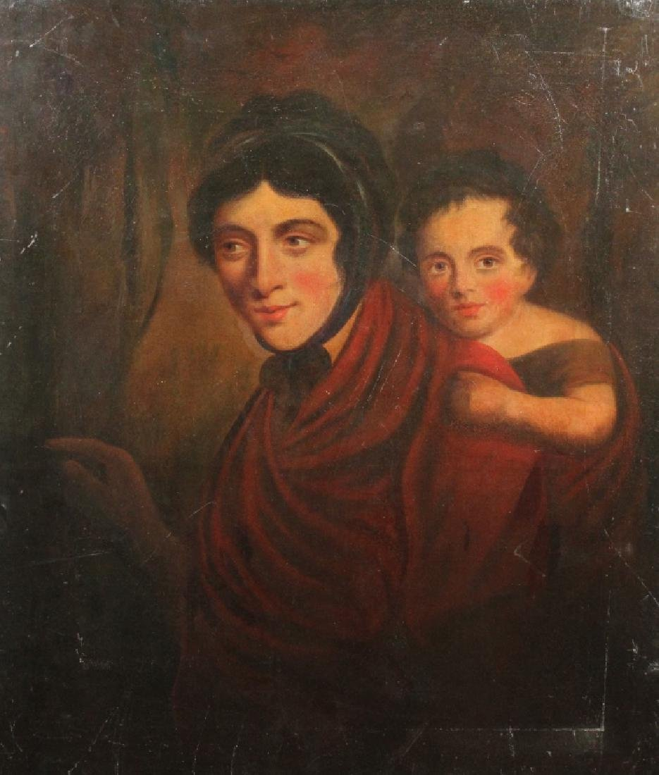 19th C. Painting, Mother & Child