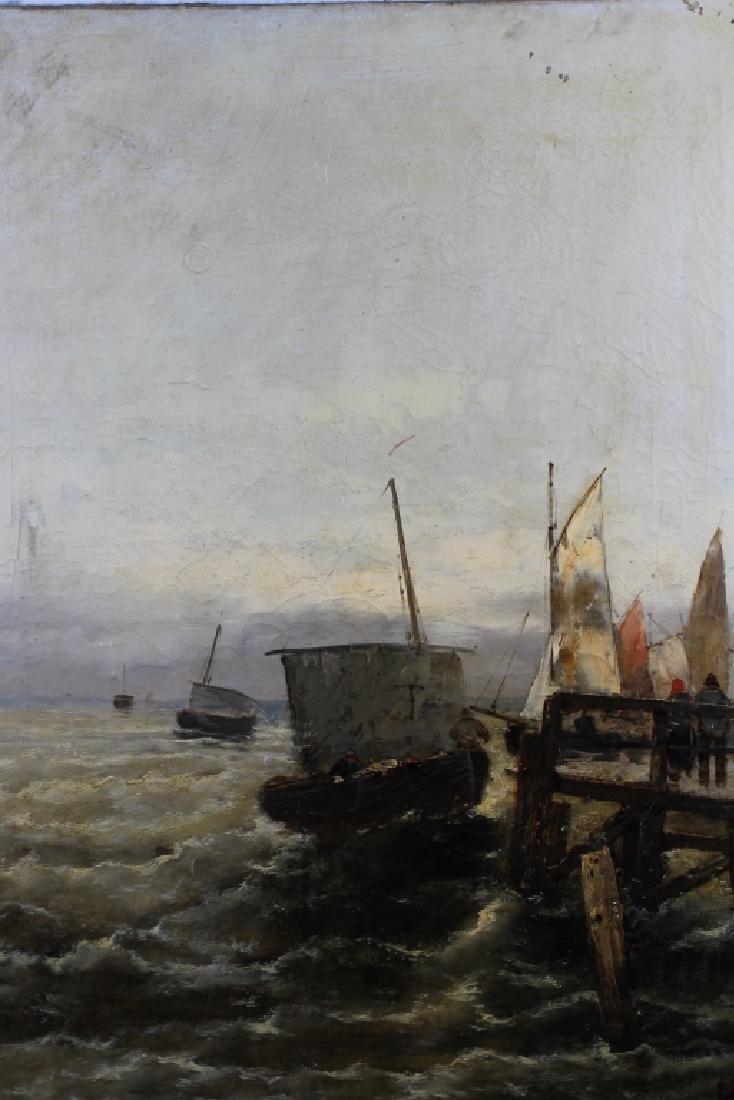 19th C. Signed English School Coastal Scene