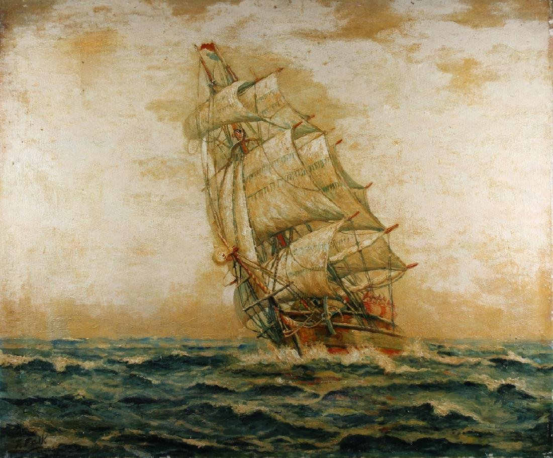 F. Falk, Antique Clipper Ship Painting