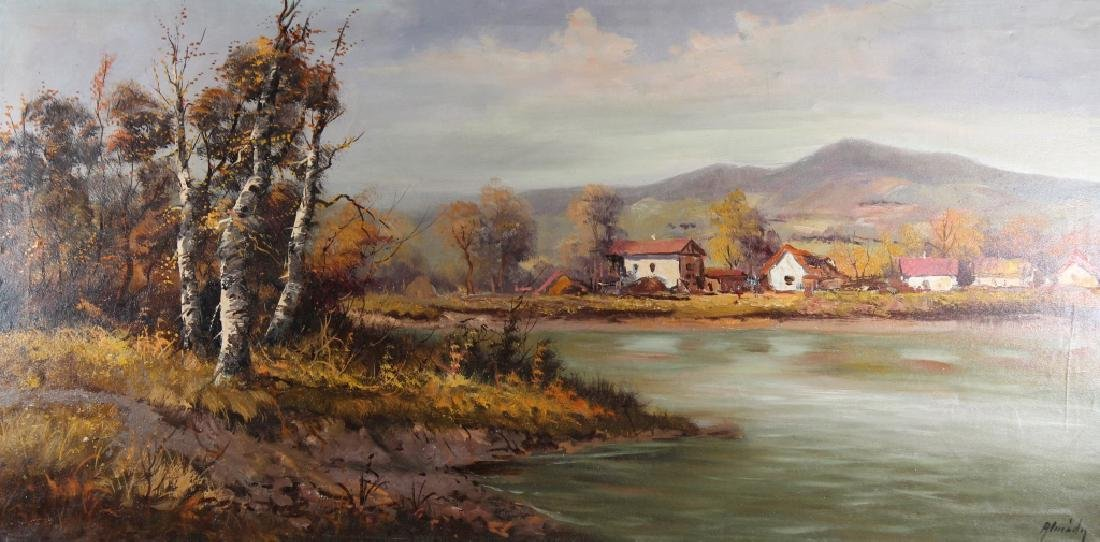 Vintage European School River Landscape w/ Village