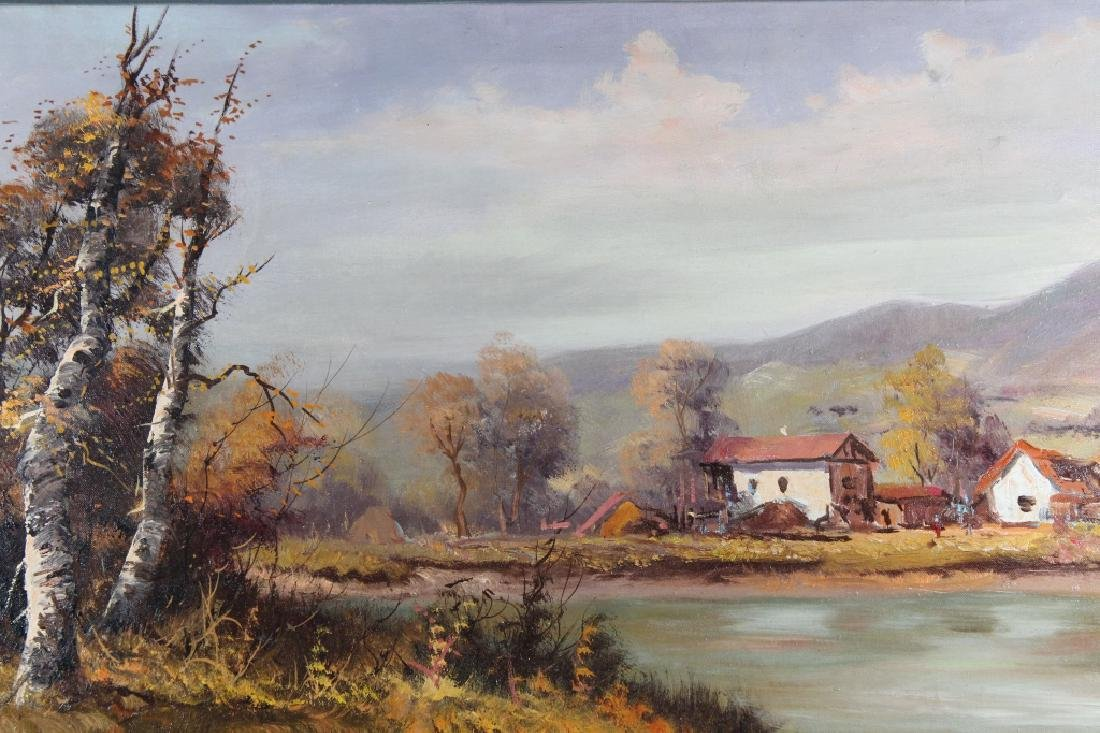 Vintage European School River Landscape w/ Village - 2