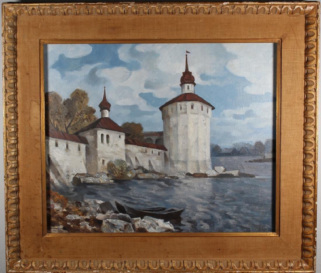 Vintage Russian School Coastal Town Scene, Signed