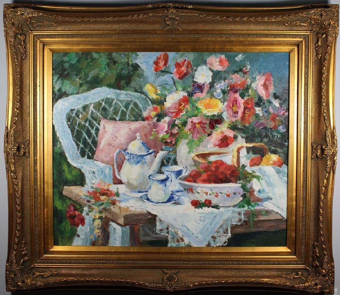 Large Contemporary Still Life, Bouquet of Flowers