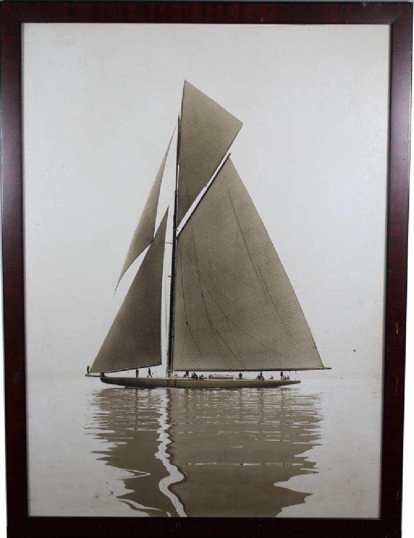 Framed Vintage Photograph of a Yacht