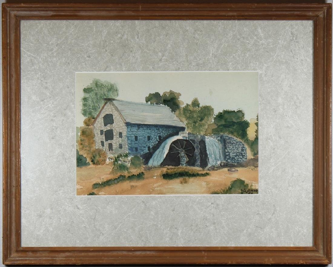 Signed, American School Watercolor of a Mill