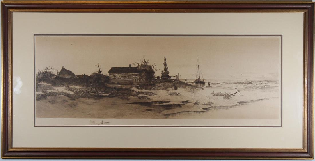 Antique American Print of House Near Coast