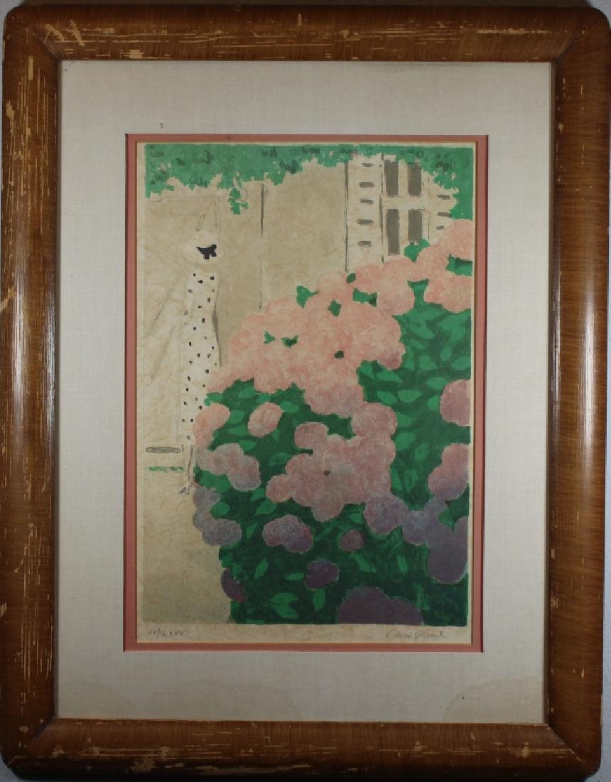 Signed, Vintage Lithograph of a Woman in a Garden