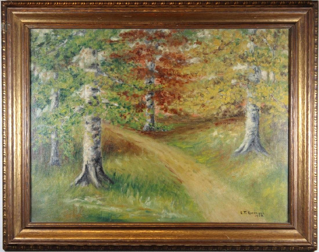 1926 Signed Painting of a Wooded Pathway