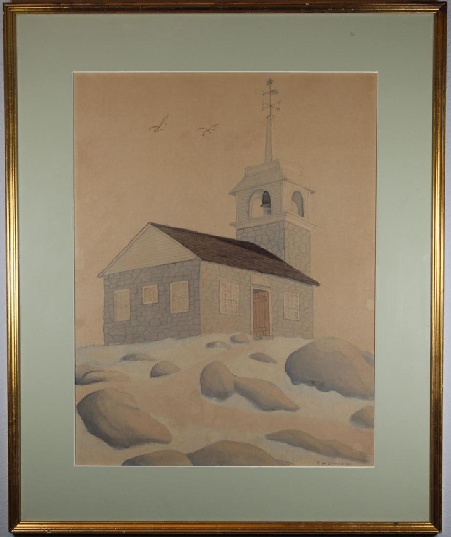 Cronan, Signed Watercolor/Pencil of a Bell House
