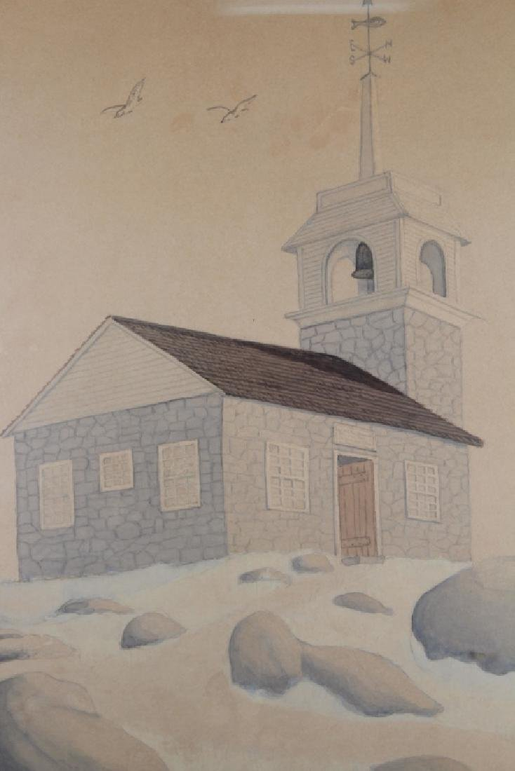 Cronan, Signed Watercolor/Pencil of a Bell House - 2