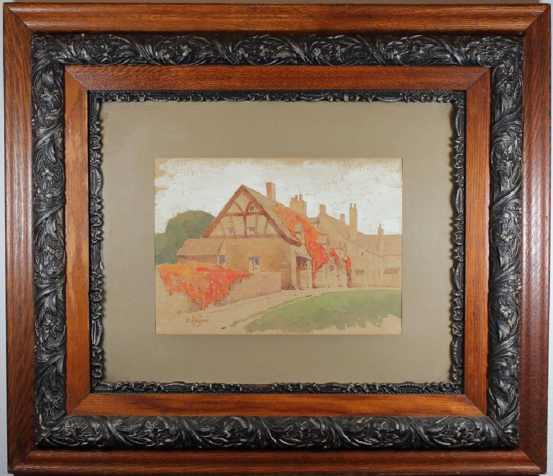 Broadway, Antique Pastel of a Large Estate