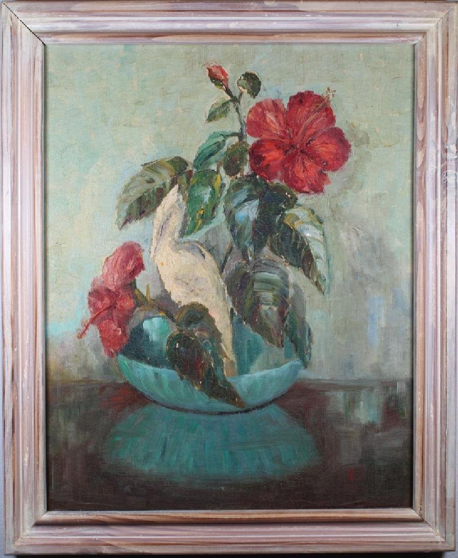 Mid 20th C Still Life Painting of a Flower Bouquet
