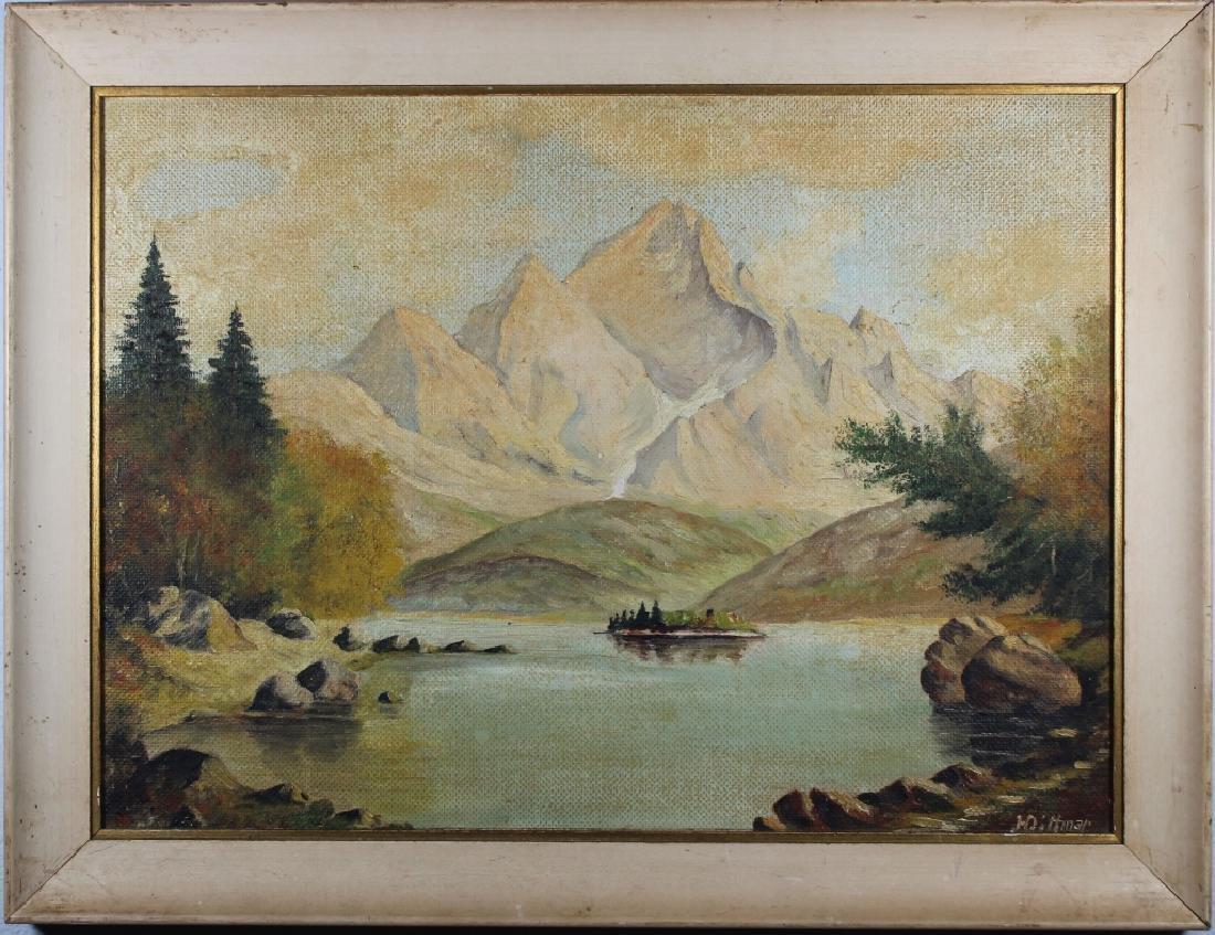 Vintage American School Mountain Landscape