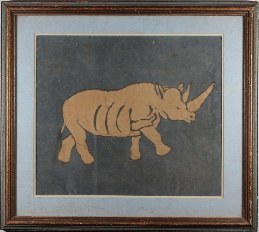 Vintage Mixed Media of a Rhinocerus