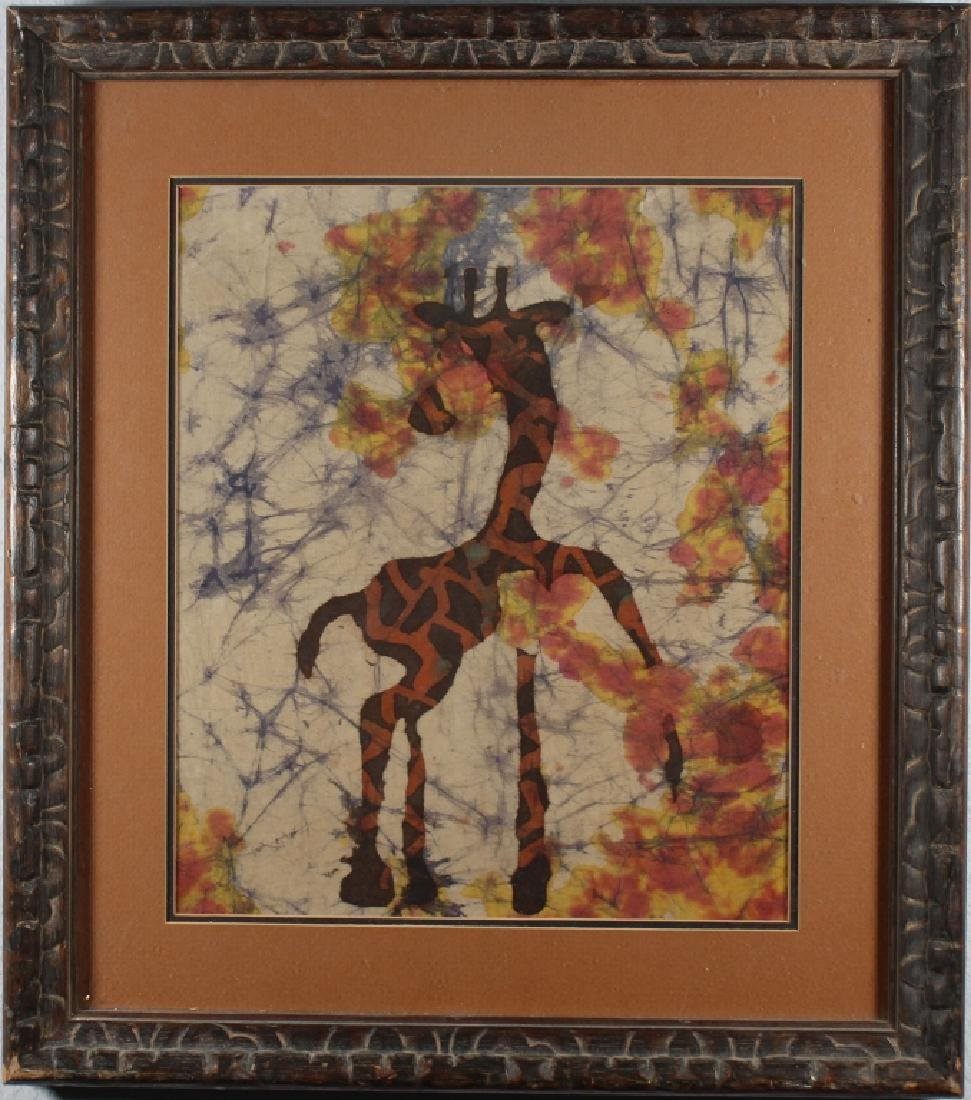Vintage Mixed Media Painting of a Giraffe
