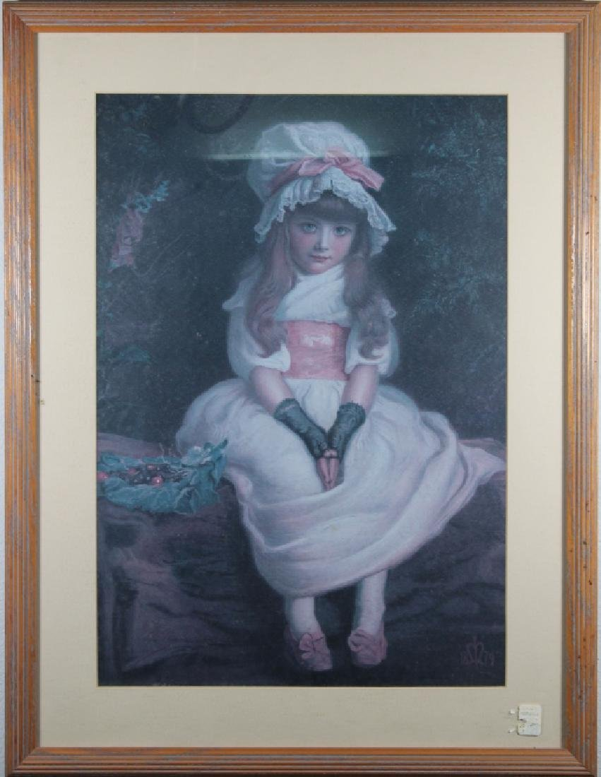 Vintage Framed Print of a Young Girl