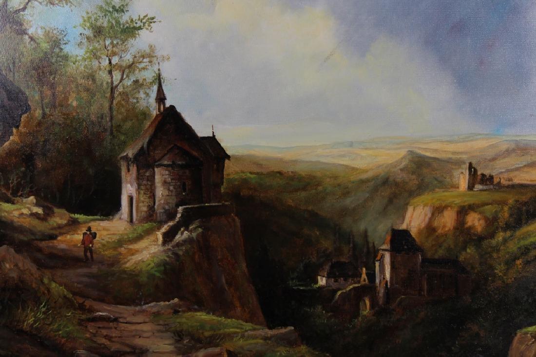 Contemporary European Landscape w/ Figures, Signed - 2