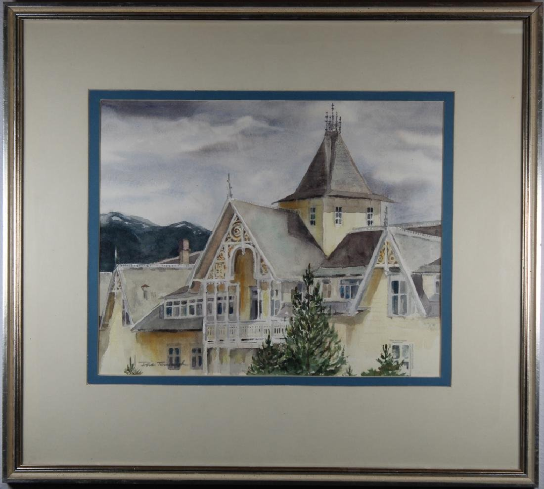 American School W/c of a Large House, Signed