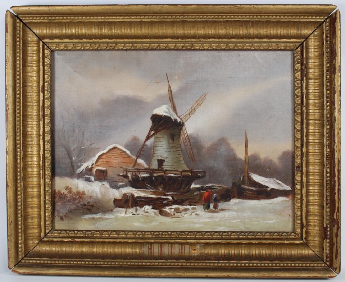 20th C. Dutch Winter Skating Scene with Windmill