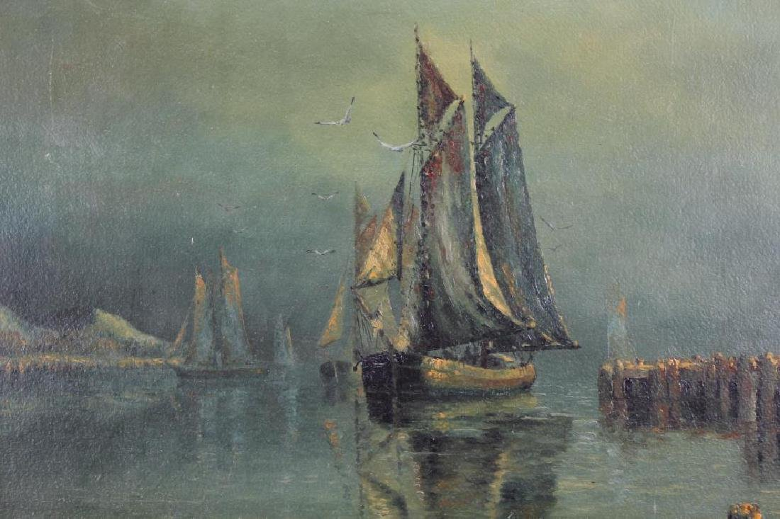 Early 20th C. Harbor Scene, Signed - 2