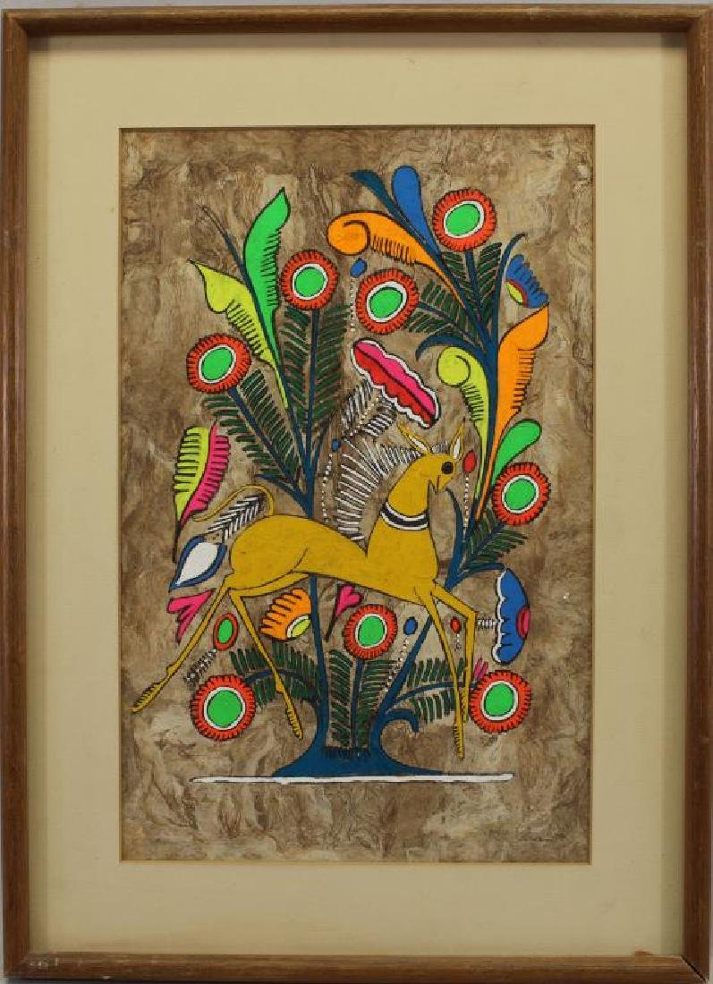 Mexican Amate Paper Folk Art Painting