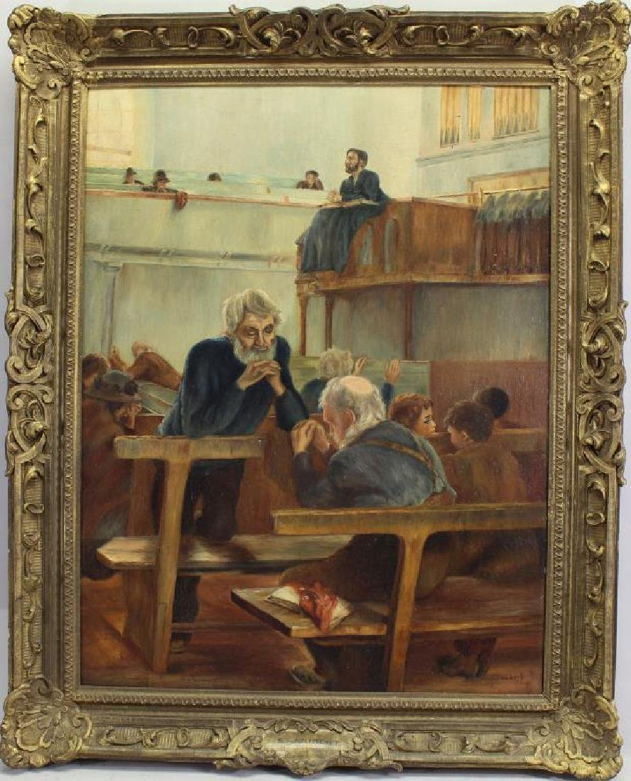 Signed, Painting of Figures Praying in a Church