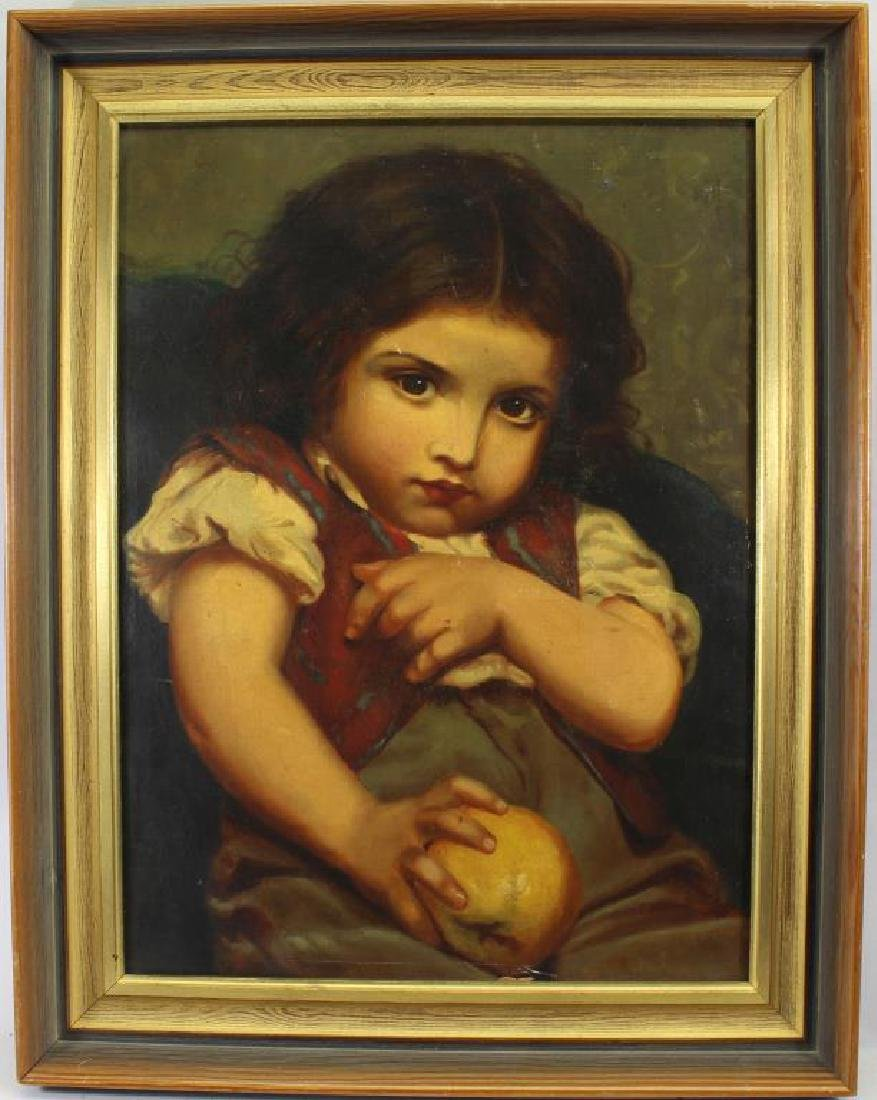 19th C. European School, Young Girl with Apple