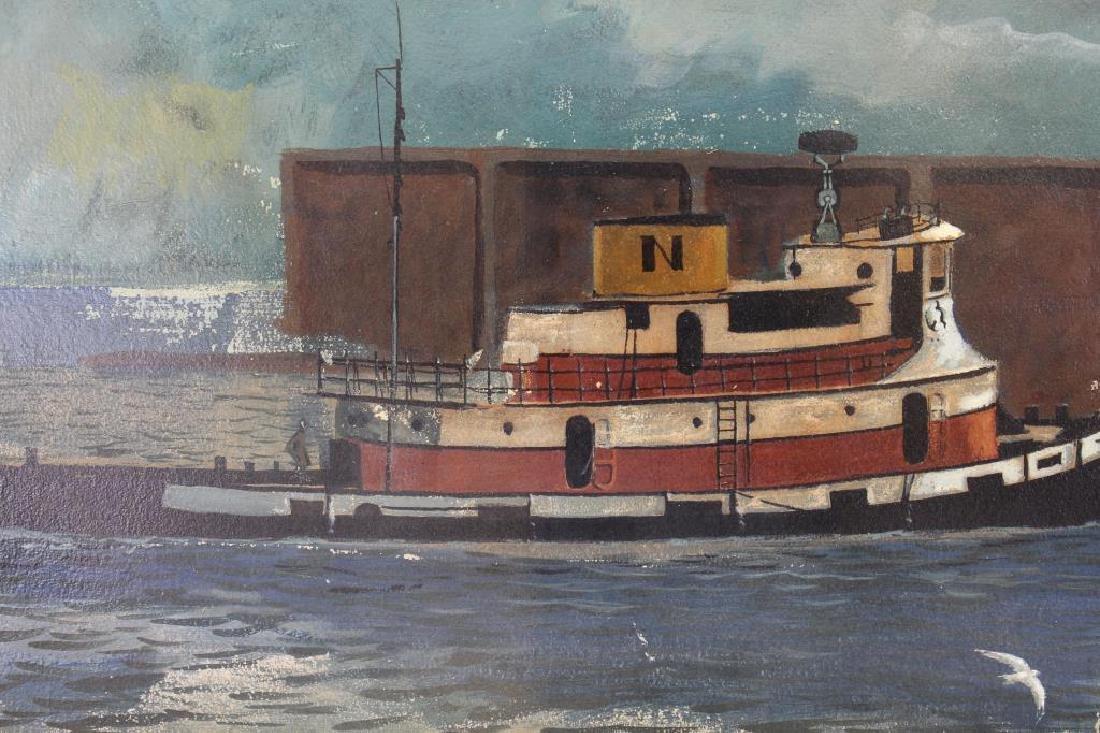 American School, 20th Century Tugboat Painting - 2
