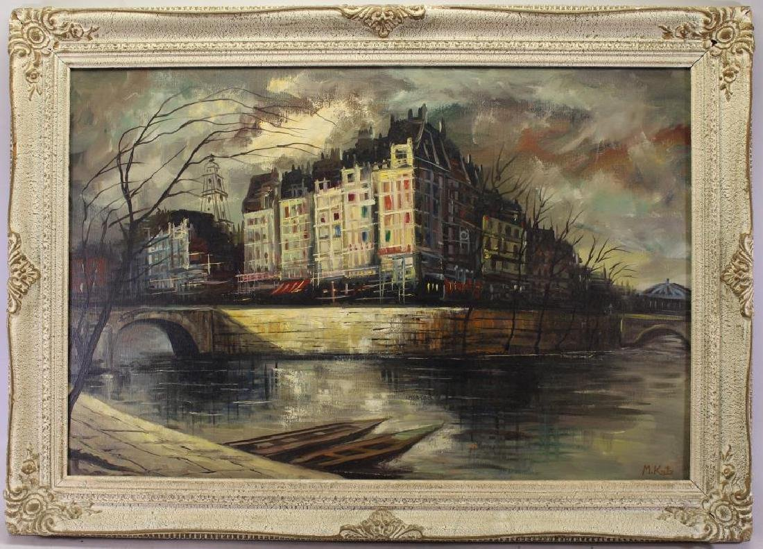 Signed Painting of a Parisian River Scene